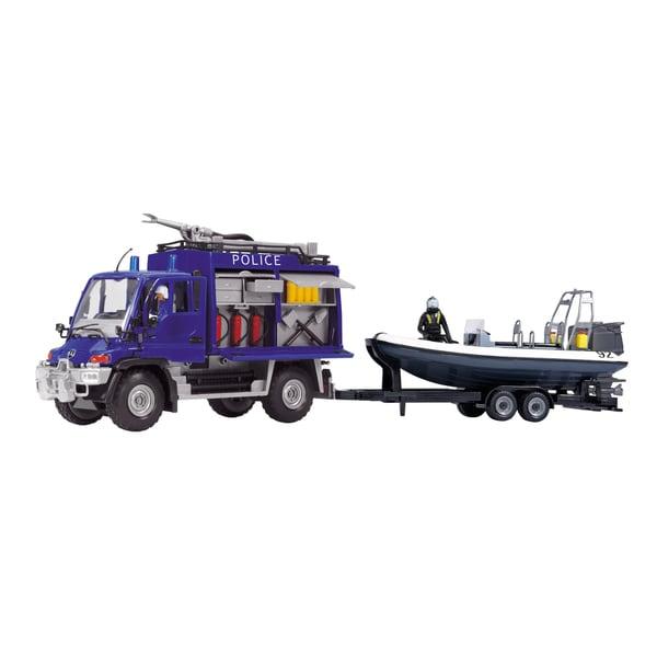 Dickie Toys 19-Inch Unimog SOS Police Trailer Set