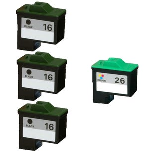 4PK 10N0016 ( #16 ) x3 10N0026 ( #26 ) Compatible Ink Cartridge For Lexmark X75 X1150 X1185 X1270 X2250 (Pack of 4)