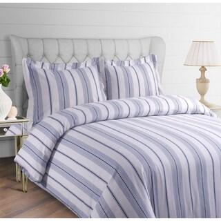 Stripe Printed 200-GSM Flannel Oversize 3-piece Duvet Cover Set