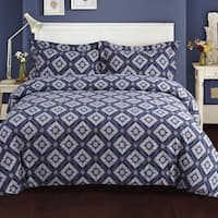 Damask Printed 200-GSM Flannel Oversize 3-piece Duvet Cover Set