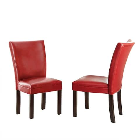 Copper Grove Zinnia Monoco Leather Chairs (Set of 2) - 39 inches high x 19 inches wide x 26 inches deep