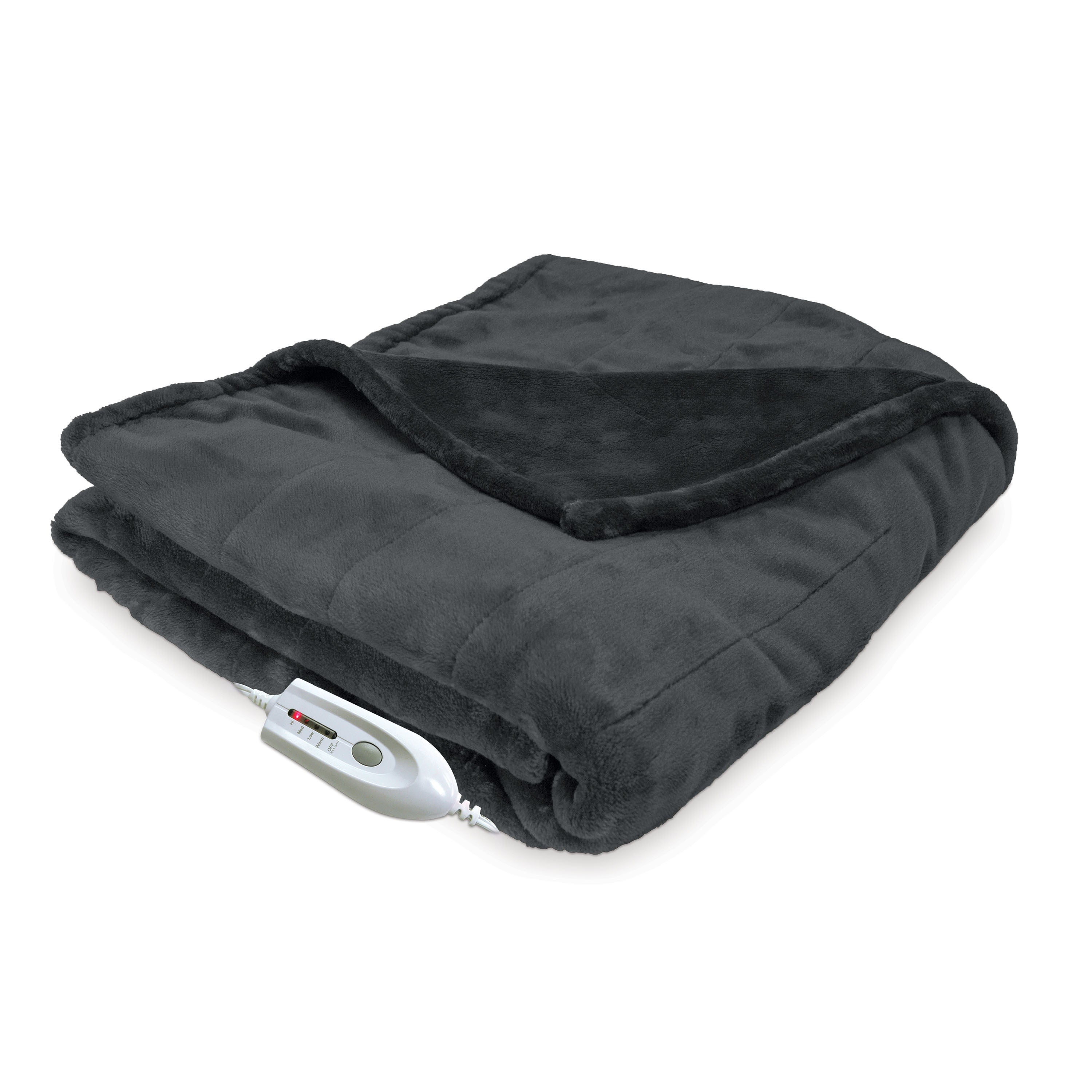 Serta Silky Plush Heated Electric Warming Throw with Four...