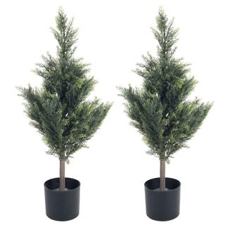 Pure Garden 34 inch Cedar Artificial Tree (Set of 2)