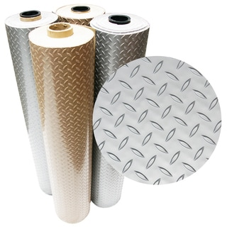 "Rubber-Cal ""Diamond-Plate (Metallic)"" PVC Flooring – 2.5mm x 4ft. Wide – Beige or Silver - Available in 10 Lengths"