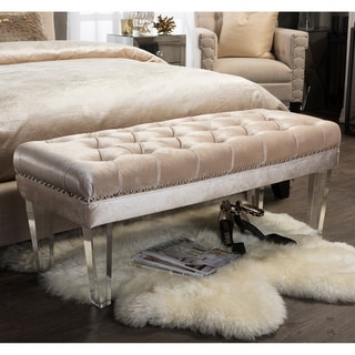 Baxton Studio Edna Contemporary Beige Microsuede Fabric Upholstered Luxe Tufted Rectangular Ottoman Bench with Acrylic Legs