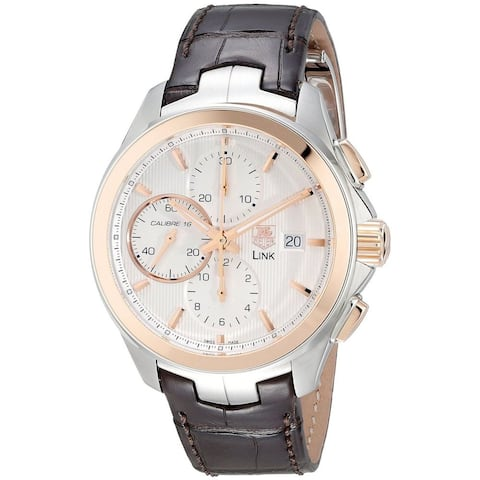 Tag Heuer Men's CAT2050.FC6322 'Link' 18Kt Rose Gold Chronograph Automatic Brown Leather Watch