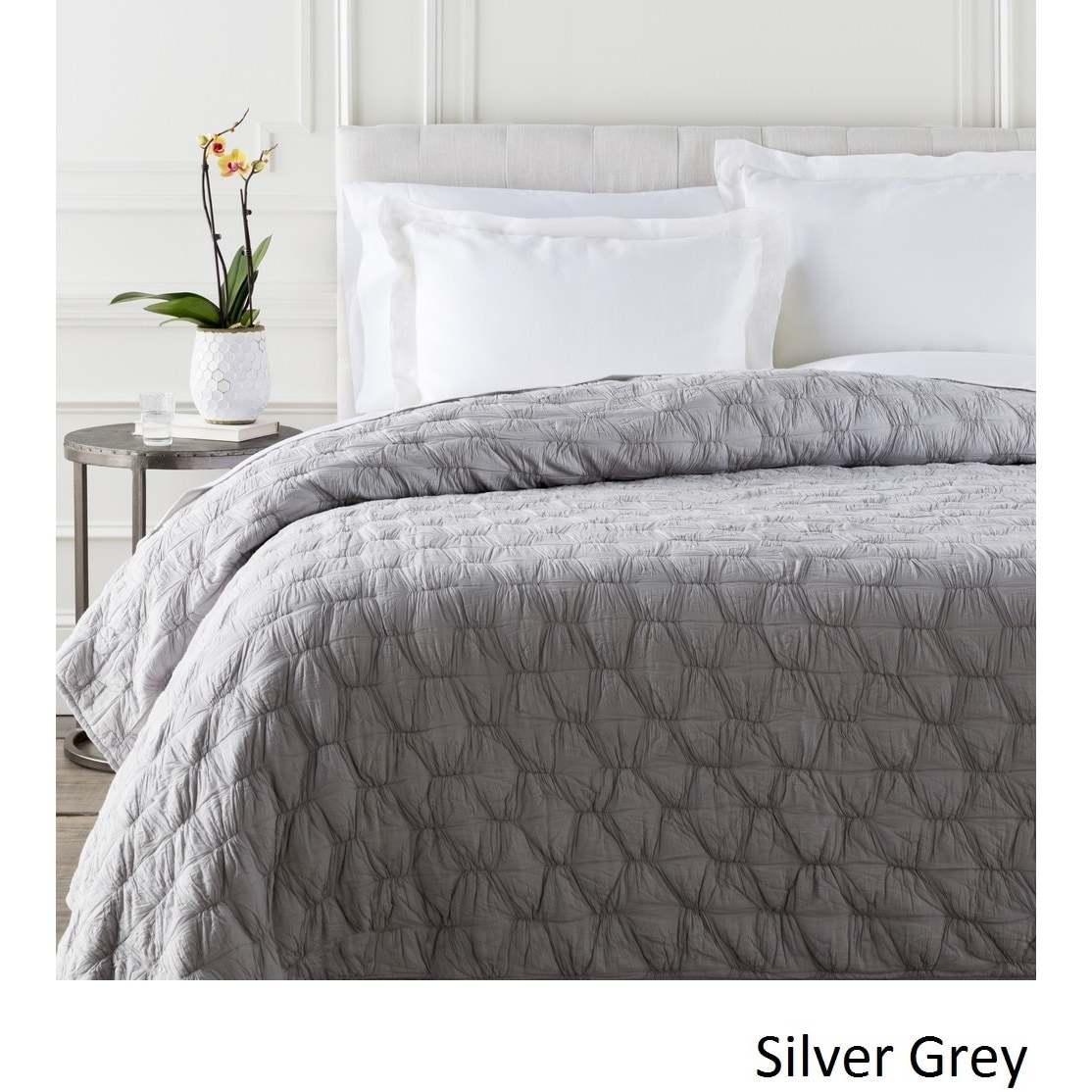 Claire Gathered Cotton Quilt (Silver/Grey - King)