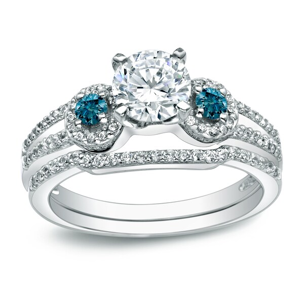 14k Gold 1ct TDW Round Blue Diamond Engagement Ring Set by Auriya