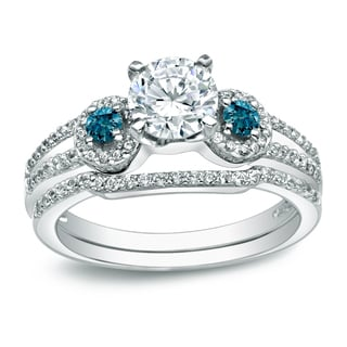 Auriya Round 1ctw 3 Stone Diamond Engagement Ring Set With Blue Diamond Accents 14k Gold