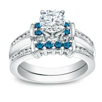 Auriya 14k Gold 1ct TDW Round Blue and White Diamond Engagement Ring Set