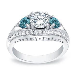 Auriya 14k Gold 2 1/5ct TDW Round Blue Diamond Engagement Ring