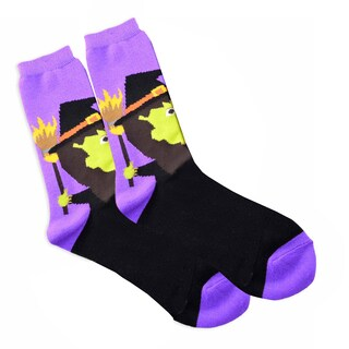 Women's Halloween Witch Head Crew Sock