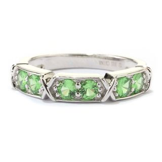 Sterling Silver Round Tsavorite 6-stone Band Ring