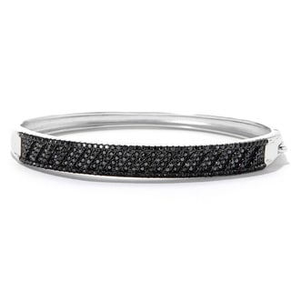Sterling Silver 2 7/8ct TDW Round Black Spinel Bangle Bracelet