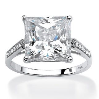 10k White Gold 3 2/5ct Princess-cut Cubic Zirconia Engagement Ring Glam CZ