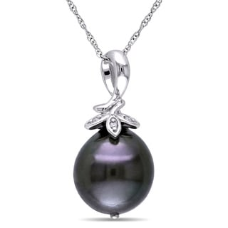 Miadora 10k White Gold Tahitian Black Pearl and Diamond Accent Drop Necklace (9-10 mm)
