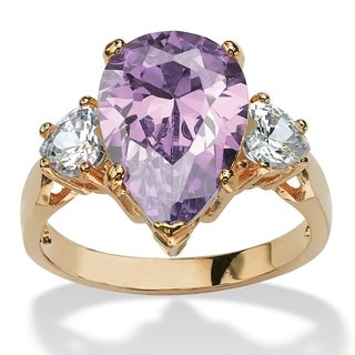 PalmBeach 14k Yellow Goldplated 6 3/4ct Lavender Pear-shaped Cubic Zirconia Ring Color Fun