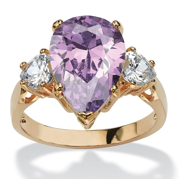 Yellow Goldplated 6 3/4Ct Lavender Pear-Shaped Cubic Zirconia Ring Color Fun