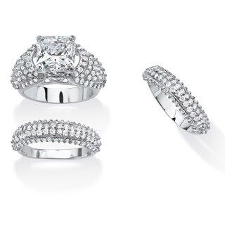 PalmBeach Platinum-plated 5 3/4ct Cushion-cut Cubic Zirconia 3-piece Bridal Set Glam CZ