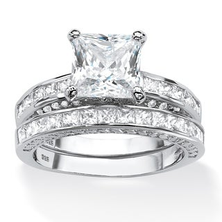 Platinum over Sterling Silver 3 2/5ct Princess-cut Cubic Zirconia 2-piece Bridal Set Class