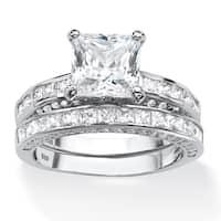Platinum over Sterling Silver 3 2/5ct Princess-cut Cubic Zirconia 2-piece Bridal Set Class