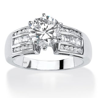 PalmBeach 10k White Gold 2 1/2ct Round Cubic Zirconia Channel-Set Engagement Ring Classic CZ