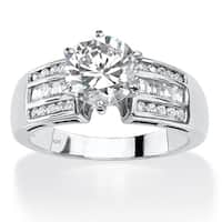 10k White Gold 2 1/2ct Round Cubic Zirconia Channel-Set Engagement Ring Classic CZ