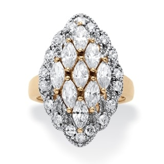 14k Gold over Sterling Silver 2 7/8ct Marquise-cut Cubic Zirconia Cluster Ring Glam CZ
