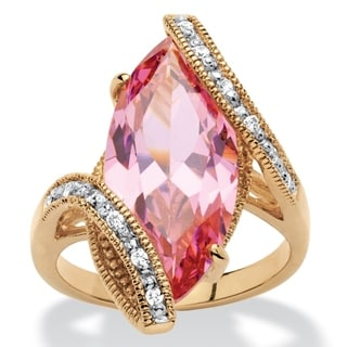 18k Yellow Goldplated 8ct Marquise-cut Pink Cubic Zirconia Bypass Cocktail Ring Color Fun