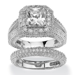 Platinum over Sterling Silver 5 1/10ct Princess-cut Cubic Zirconia 2-piece Halo Bridal Set