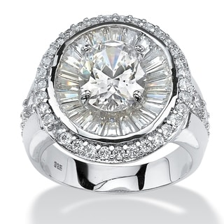 Platinum over Sterling Silver 5 5/8ct Oval-cut and Baguette Cubic Zirconia Double Halo Rin
