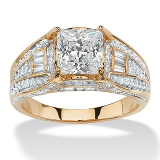 14k Yellow Gold over Sterling Silver 2 2/5ct Princess-cut Cubic Zirconia Engagement Ring C