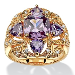 18k Yellow Goldplated 4ct Cushion-cut Simulated Amethyst Floral Motif Cocktail Ring Color