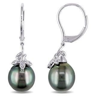 Miadora 10k White Gold Tahitian Black Pearl and Diamond Accent Dangle Earrings (9-10 mm)