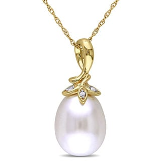Miadora 10k Yellow Gold Cultured Freshwater White Pearl and Diamond Accent Drop Necklace (9-10 mm)