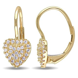 Miadora 14k Yellow Gold White Sapphire Heart Cluster Earrings