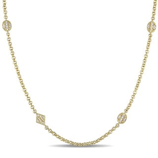 Miadora 18k Yellow Gold Plated Sterling Silver White Sapphire Station Necklace