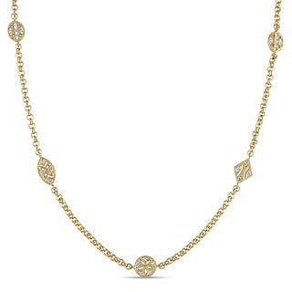 V1969 ITALIA White Sapphire Tapestry Station Necklace in 18k Yellow Gold Plated Sterling Silver