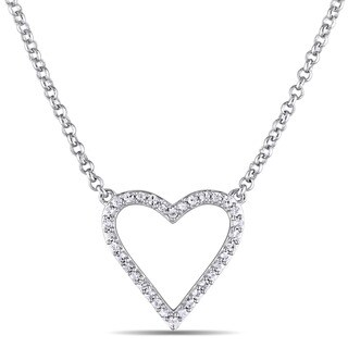 Miadora White Sapphire Heart Necklace in Sterling Silver