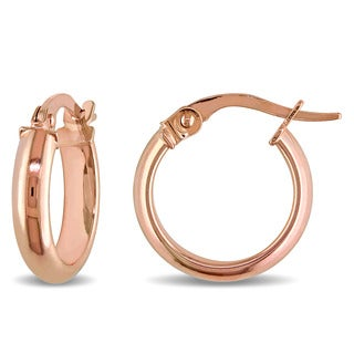 Miadora 10k Rose Gold Italian Hoop Earrings - Pink