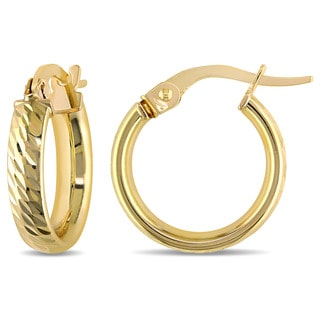 Miadora 10k Yellow Gold Italian Diamond Cut Hoop Earrings