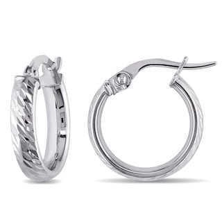 Miadora 10k White Gold Italian Diamond Cut Hoop Earrings