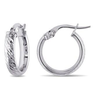 Miadora 10k White Gold Italian Diamond Cut Hoop Earrings