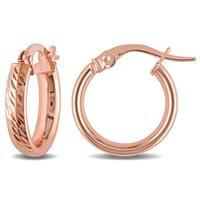 Miadora 10k Rose Gold Italian Diamond Cut Hoop Earrings - Pink