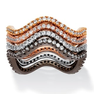PalmBeach Goldtone and Silvertone 1 1/8ct 4-Piece Set of Wavy Stackable CZ Eternity Bands Bold Fashion