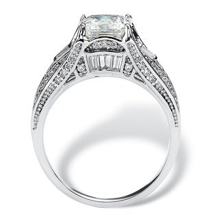 Platinum over Sterling Silver 2 2/5ct Cushion-cut Cubic Zirconia Engagement Ring Classic C