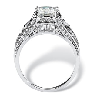 Link to Platinum over Sterling Silver Cubic Zirconia Engagement Ring - White Similar Items in Rings