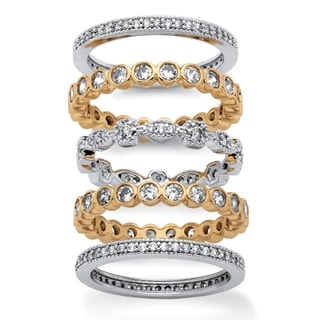14k Yellow Goldplated and Silvertone 3 5/8ct 5-piece Set of Cubic Zirconia Stackable Etern