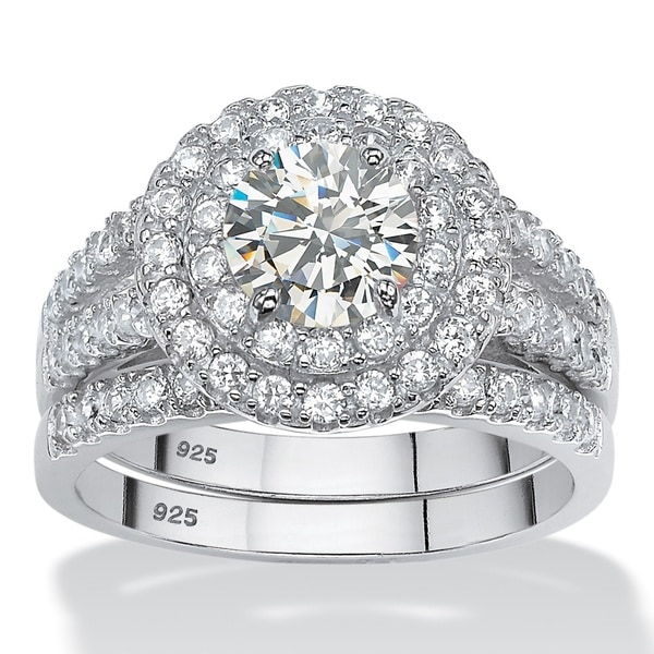 2 66 Tcw Round White Cubic Zirconia 2 Piece Halo Bridal: Platinum Over Sterling Silver 2 1/2ct Round Cubic Zirconia