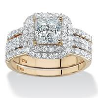 14k Gold over Sterling Silver 2 2/5ct Princess-cut Cubic Zirconia 3-piece Halo Bridal Ring